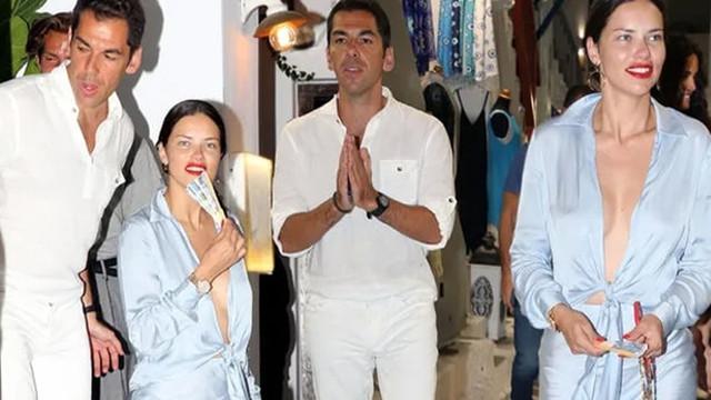 Adriana Lima ve Emir Uyar Mikonos sokaklarında