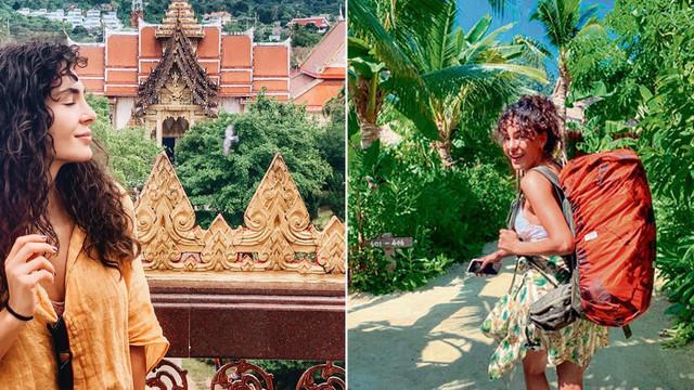 Ebru Şahin sırt çantasıyla Phuket turunda