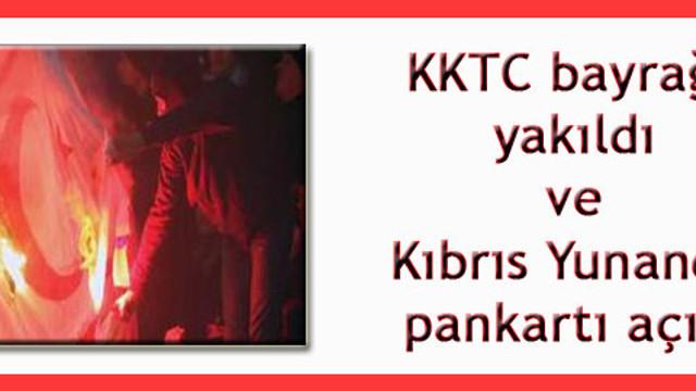 Şampiyonlar Ligi maçında KKTC Bayrağını yaktılar!