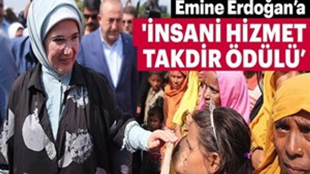 Emine Erdoğan'a 'İnsani Hizmet Takdir Ödülü'