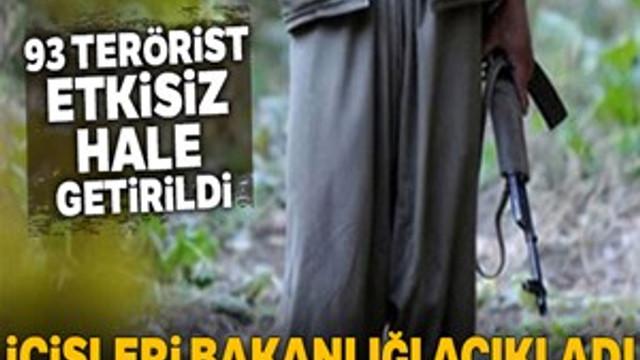 İçişleri Bakanlığı: '93 terörist etkisiz hale getirildi'