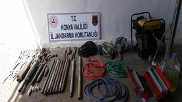 Konya'da kaçak kazı operasyonu