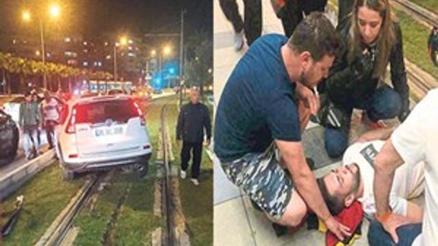 Kazadan kurtulan sürücü yardıma koştu