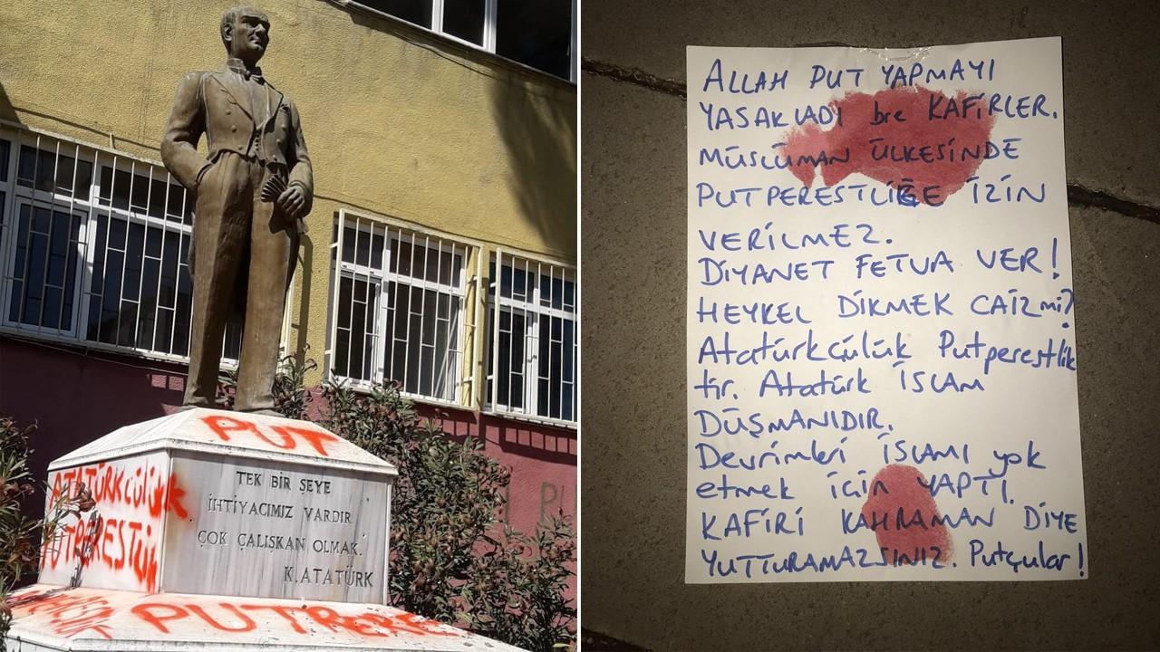 Ulu Önder Atatürk'ün büstüne kin dolu saldırı