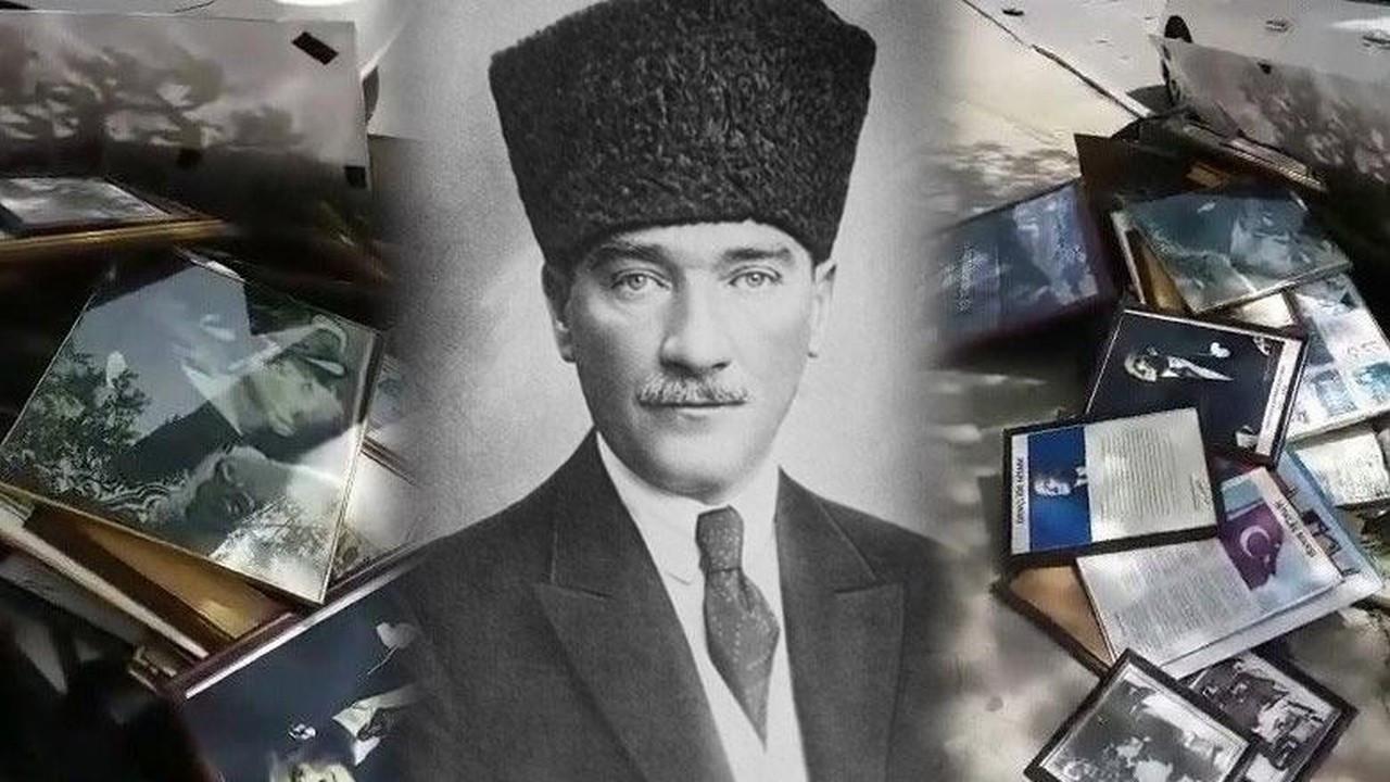 Skandal olay! Atatürk resimleri çöpe atıldı!