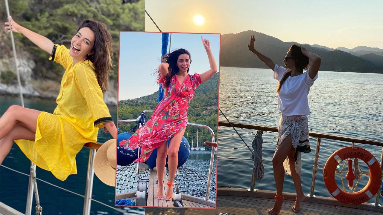 Öykü Gürman'dan 'Tekne tatiline çıktım' pozları