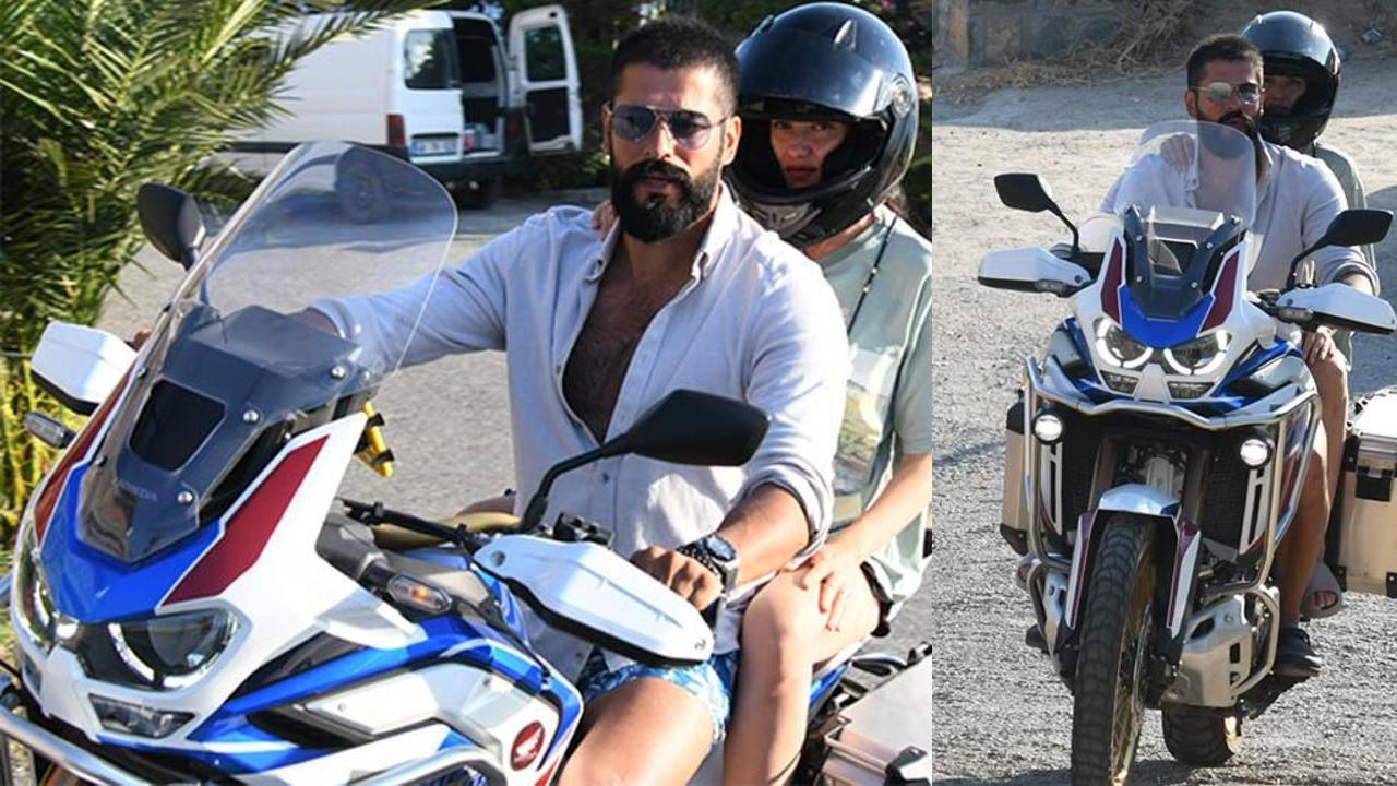 Burak Özçivit ve Fahriye Evcen'den Bodrum'da motosikletli tur