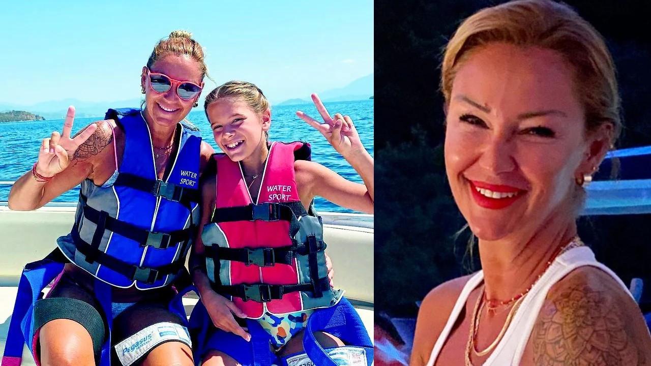 Pınar Altuğ kızıyla birlikte deniz paraşütü yaptı