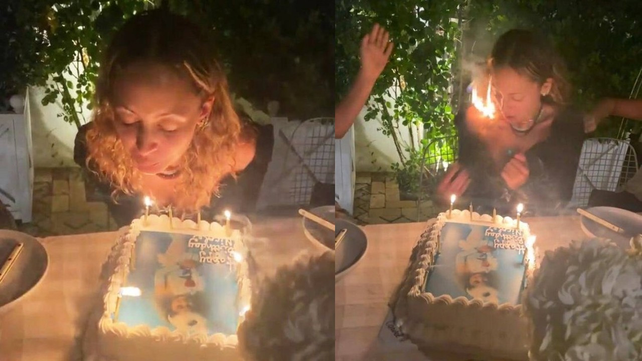 Ünlü yıldız pastasındaki mumları üflerken saçları alev aldı!